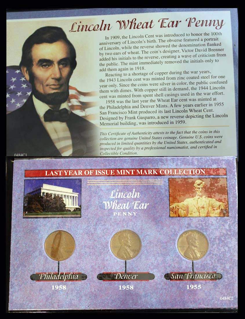 Last Year of Issue Series, Lincoln Wheat Ear Penny, 1955/1958
